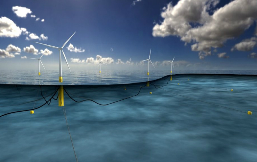 An illustration shows how the floating turbine are cabled to the seafloor. Credit: Statoil