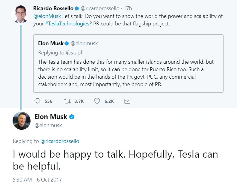 Elon Musk and Gov. Ricardo Rossello launched the conversation on twitter.
