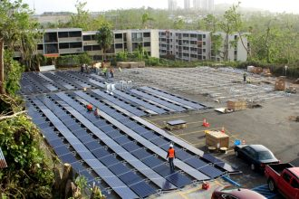 Tesla's first solar-plus-storage project in Puerto Rico is being built at a children's hospital. Credit: Tesla