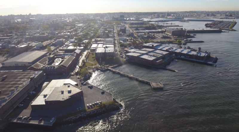 A drone's-eye view of the Red Hook area of Brooklyn. Credit: Lucas McGowen via The Bridge