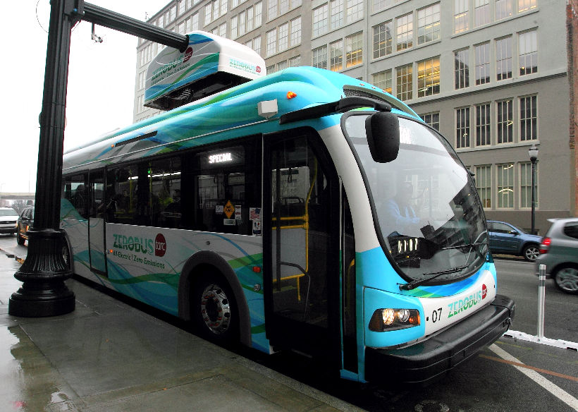 Two overhead chargers along Louisville's electric bus routes power up the buses during stops of less than 10 minutes. Credit: City of Louisville