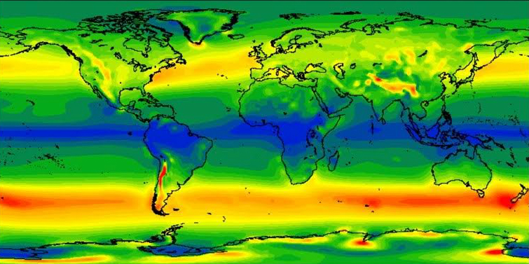 A map from the study shows differing kinetic energy extraction rates around the world. Credit: Anna Possner/Carnegie Institution for Science