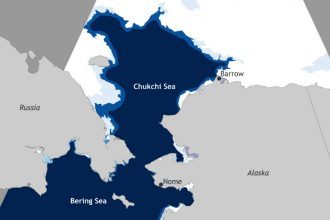 Record low ice extent was recorded in the Bering and Chukchi Seas in late November 2017. Credit: NOAA