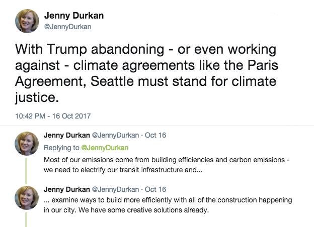 Tweet by Seattle Mayor-elect Jenny Durkan
