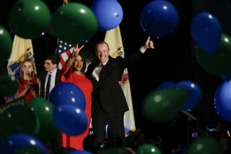 New Jersey's Democratic Gov.-elect Phil Murphy and Lt. Gov.-elect Sheila Oliver celebrate their election victory. The team publicly supported clean energy and having New Jersey rejoin the Northeast's carbon market. Credit: Eduardo Munoz Alvarez/Getty