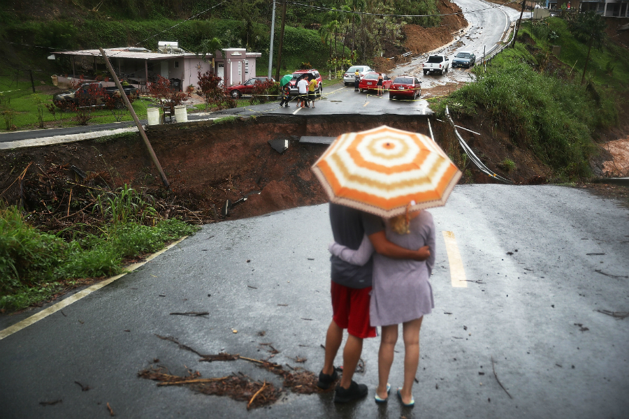 Flooding from the hurricane washed out bridges and roads, cutting off entire communities in Puerto Rico. Credit: Joe Raedle/Getty Images