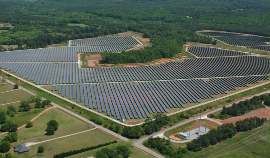 Silicon Ranch's solar farm near Social Circle, Georgia, produces 30 megawatts of power through 130,000 solar panels. Credit: Silicon Ranch