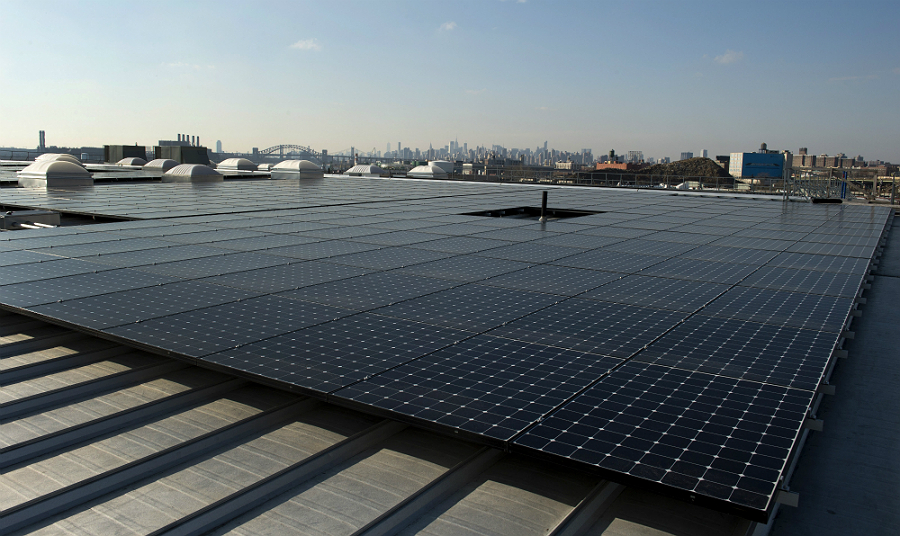 The rooftop of one restaurant supply company in the Bronx holds 1.5 megawatts of solar panels. Credit: Don Emmert/AFP/Getty Images