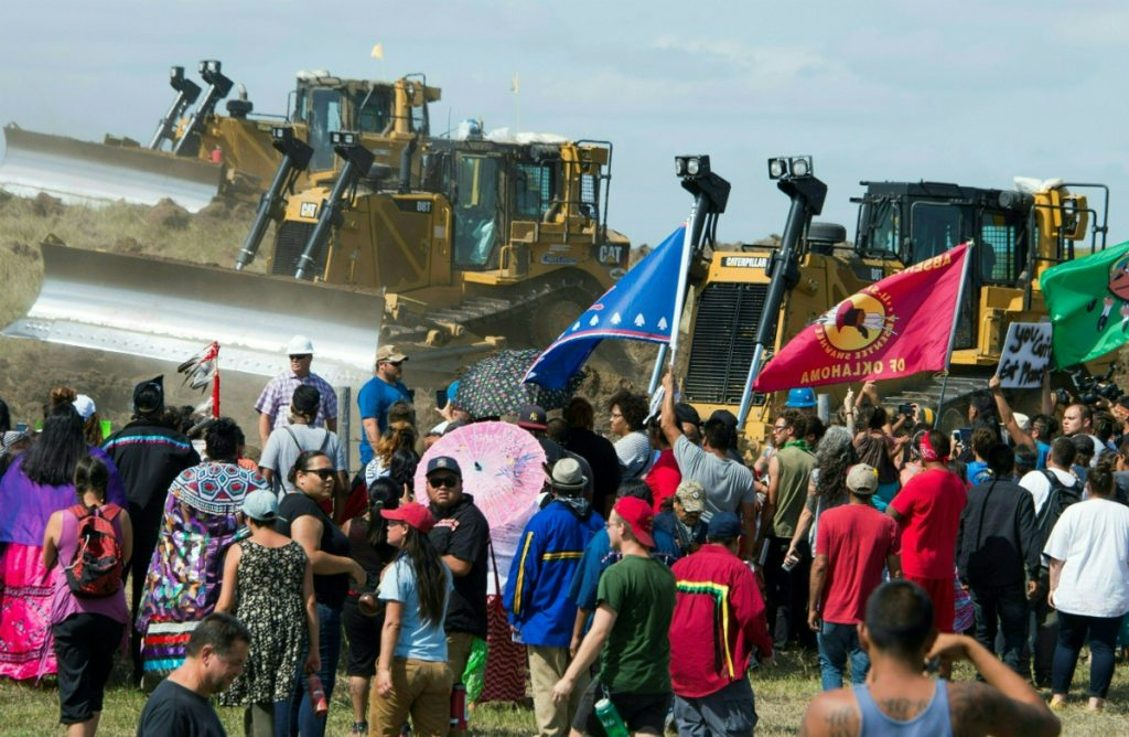 The Standing Rock tribe opposed the pipeline's route, which pumps crude oil under the Missouri River and Lake Oahe. The tribe relies on the river for drinking water and considers the water sacred. Credit: Robyn Beck/AFP/Getty Images