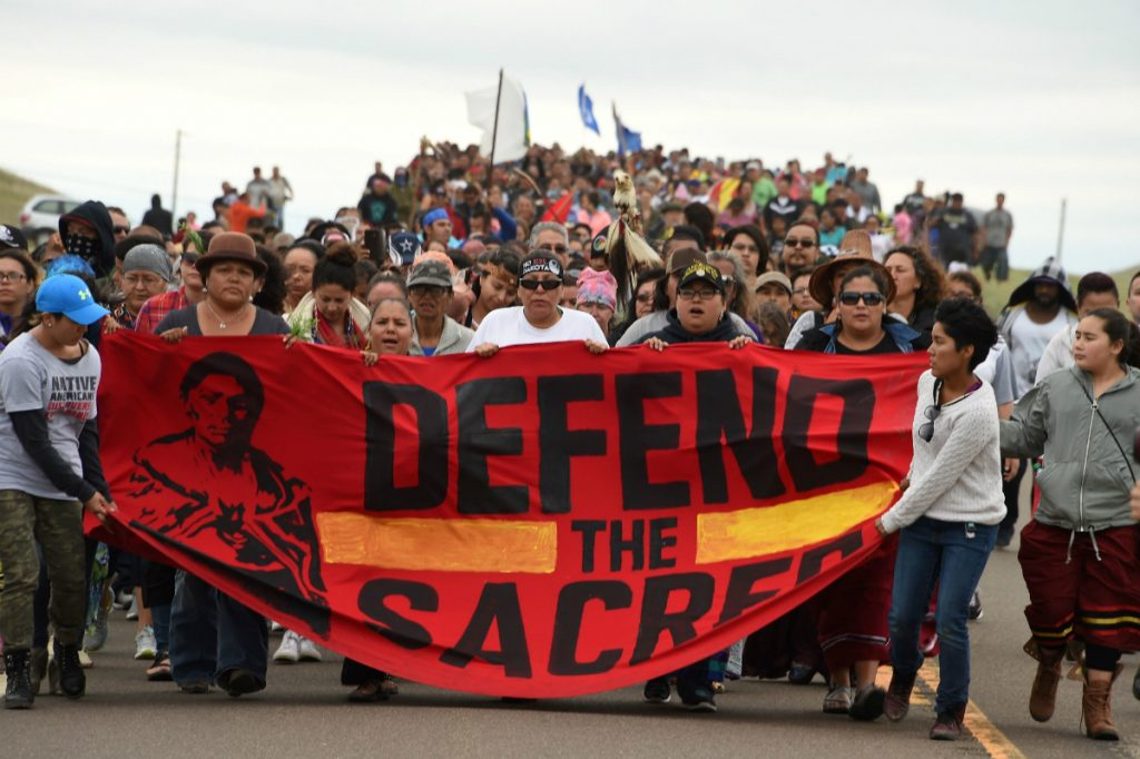 The protests drew supporters from across the country, including many from Native American tribes and veterans groups. Credit: Robyn Beck/AFP/Getty Images
