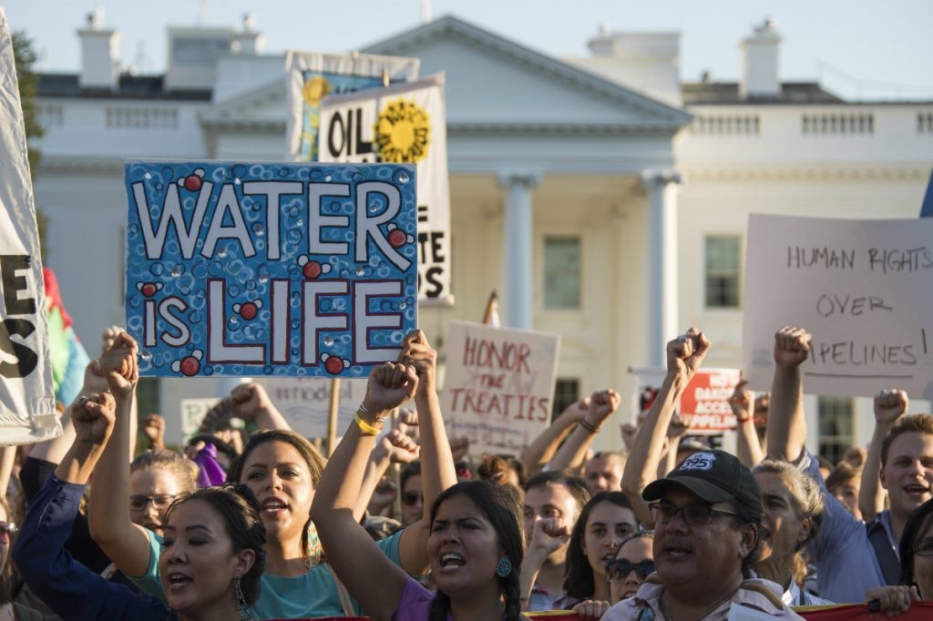 Standing Rock supporters took their fight to Washington and the White House. Tribal Chairman Dave Archambault II met with Congress and the president in 2016 to argue their case for stopping the pipeline. Credit: Jim Watson/AFP/Getty Images