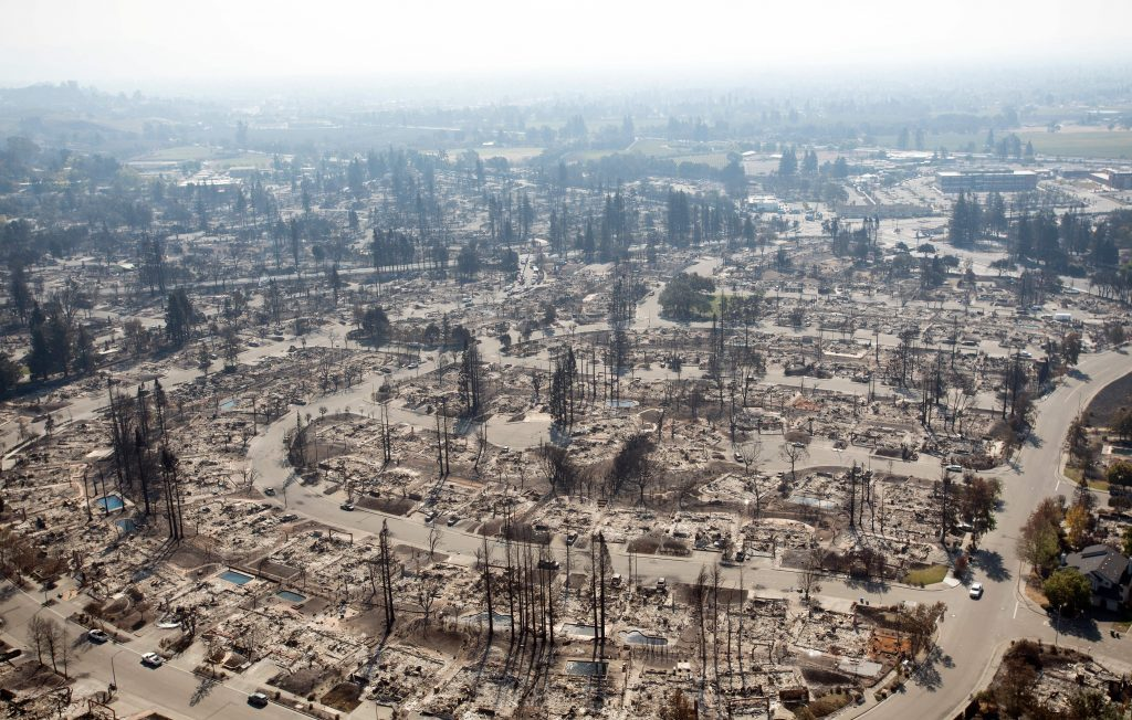 The deadly fires that raced through California wine country in October left entire neighborhoods in ashes during the state's record-breaking fire season. Credit: Josh Edelson/AFP/Getty Images