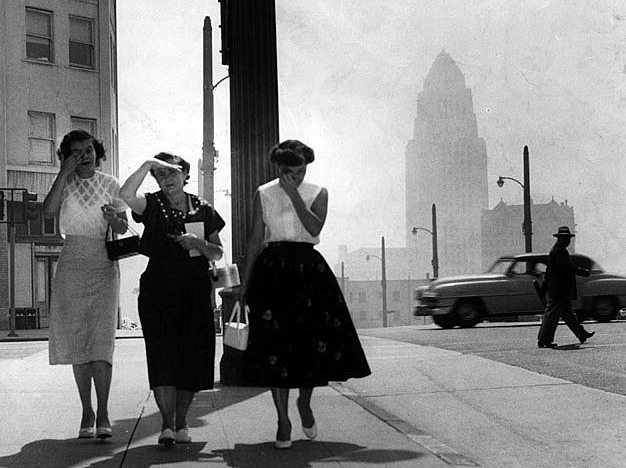 Smoggy L.A. day in 1955. Credit: Los Angeles Public Library Photo Collection