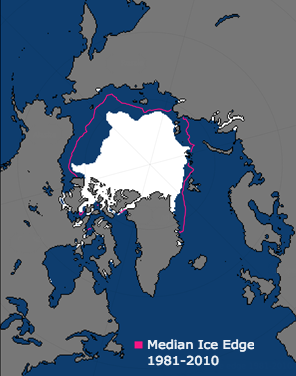 The Arctic sea ice extent in September 2017, when the ice is at its lowest level for the year. Credit: NOAA