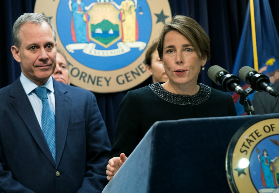 Attorneys General Maura Healey of Massachusetts and Eric Schneiderman of New York have been pushing back on federal efforts to undermine environmental protections. Credit: Drew Angerer/Getty Images
