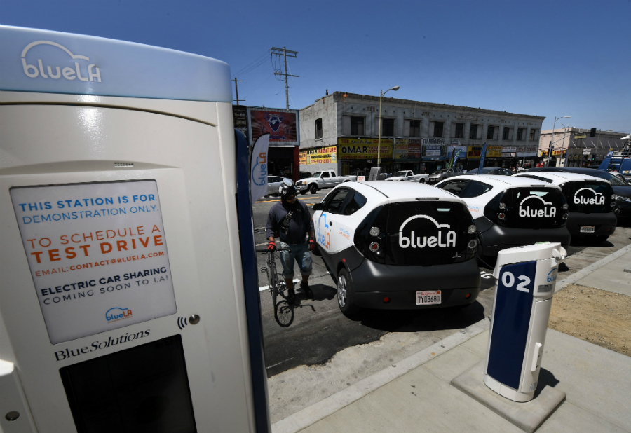 Los Angeles is launching the electric car-sharing service BlueLA in lower-income neighborhoods. Credit: Mark Ralston/Getty Images