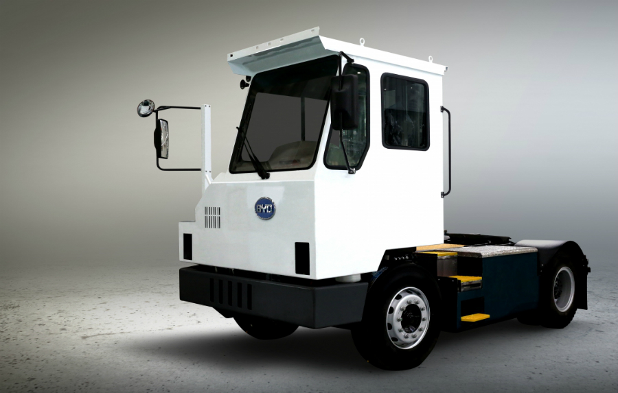 BYD's Q1M yard truck is a class 8 heavy-duty truck designed to replace diesel tractors used in rail yards and freight distribution centers. Credit: BYD
