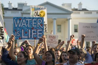 Dakota Access Pipeline protests outside the White House. Credit: Jim Watson/AFP/Getty Images