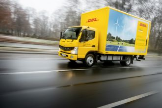 The delivery company DHL is testing FUSO eCanter electric trucks. Credit: Daimler