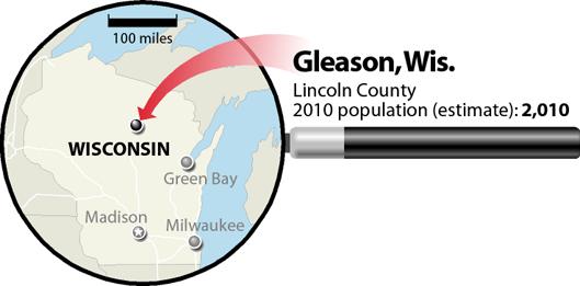 Gleason, Wisconsin, locator map