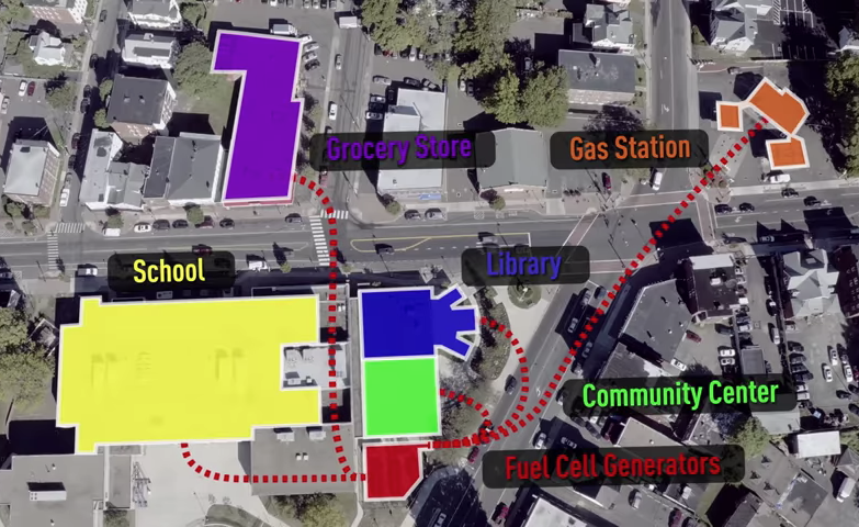 Hartford's microgrid connects to a few key locations: a gas station, grocery store, school and community center and library. Credit: Constellation Energy