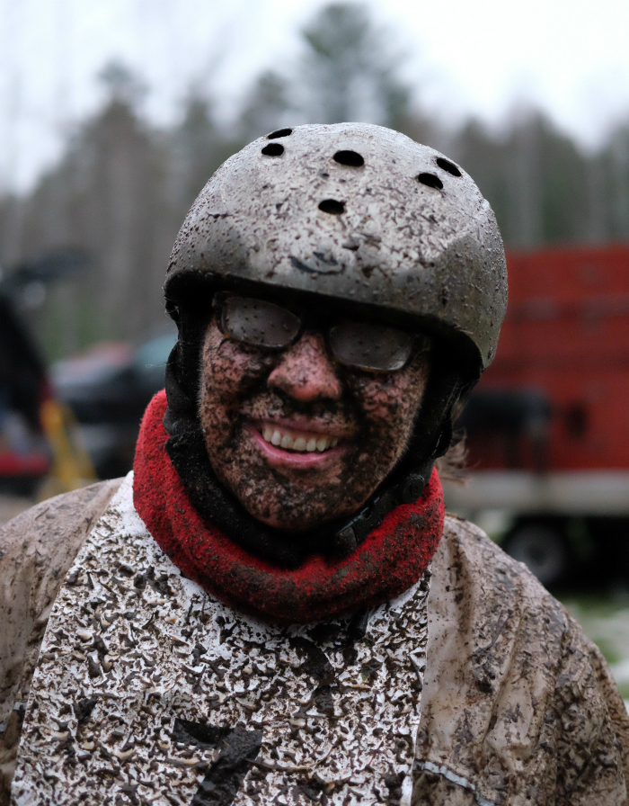 Dryland races involve plenty of mud, as Jan Bootz-Dittmar is evidence of after a race. Credit: Meera Subramanian/InsideClimate News