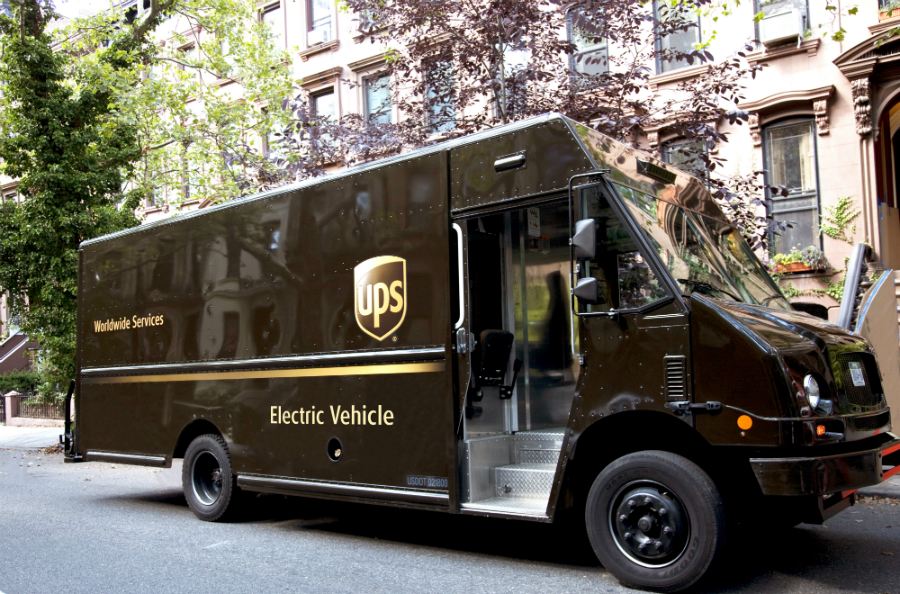 UPS is working with the New York State Energy and Research Development Agency to convert its traditionally diesel delivery trucks to electric for use in New York City. Credit: UPS
