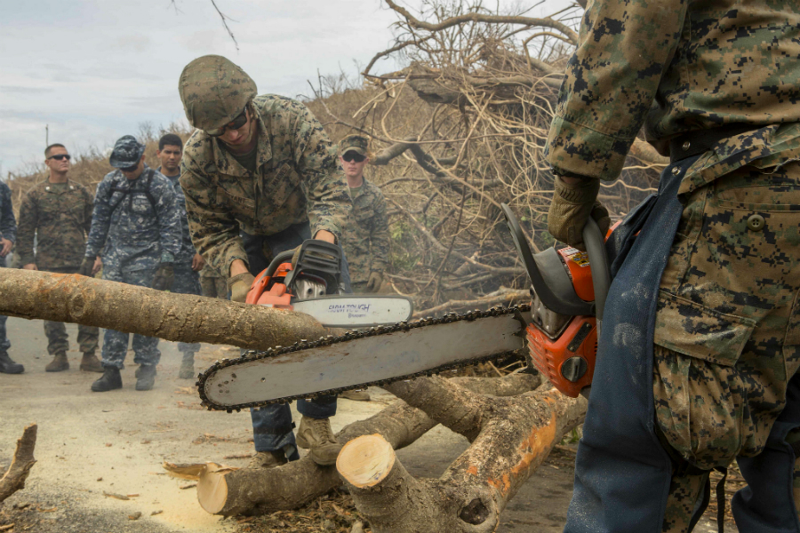 Marines cleared tree limbs from roadways across St. Croix after Hurricane Maria struck the island on Sept. 19. Now, the officials are determining how to dispose of all that debris. Credit: Lance Cpl. Santino D. Martinez/U.S. Marine Corps