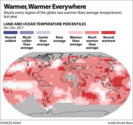 Map: 2017 was warm around the world