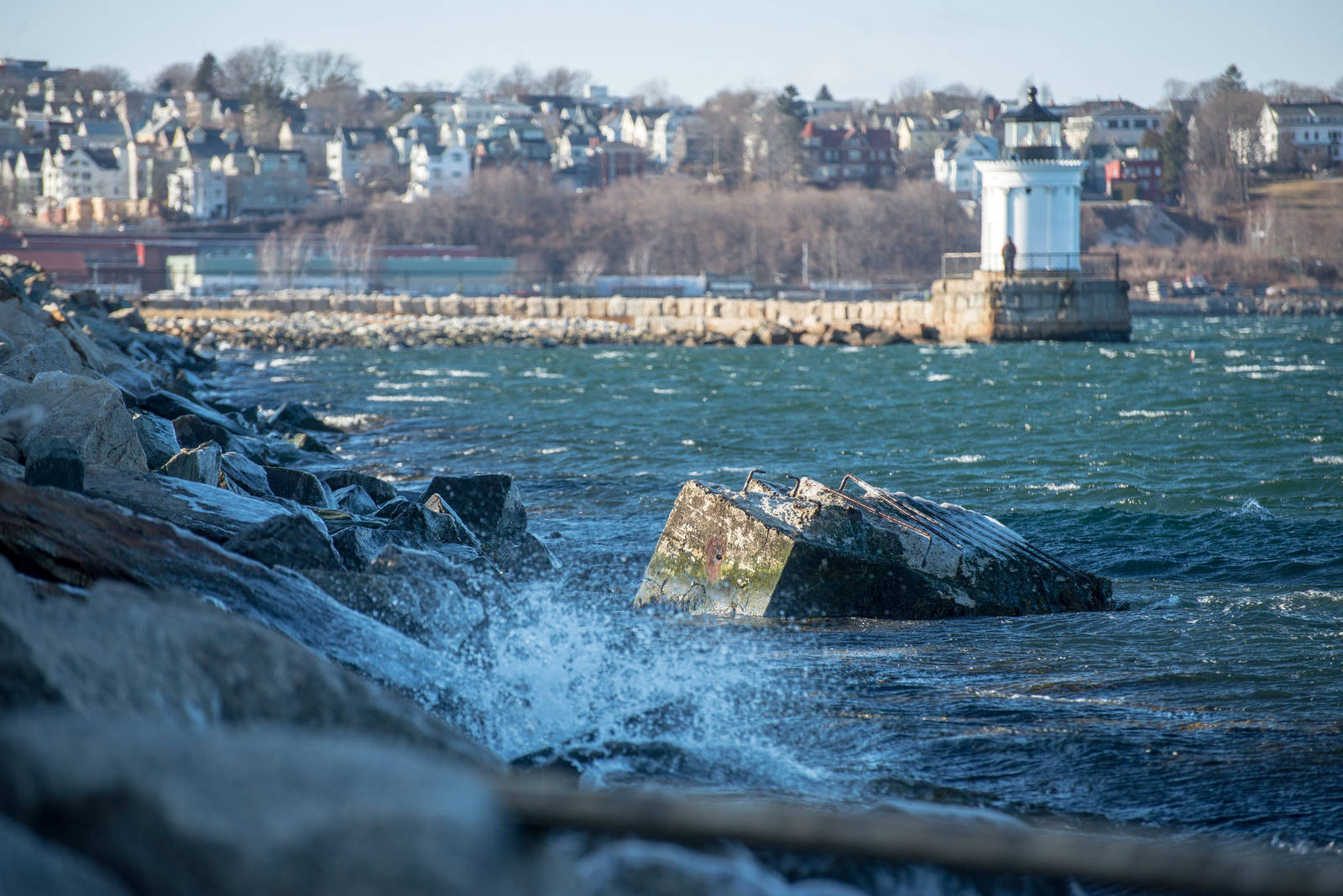 The city of South Portland, Maine has spent five years fighting to stop a local pipeline company from bringing tar sands oil through the city and building a pair smokestacks near Bug Light Park. Credit: Corey Templeton via Creative Commons