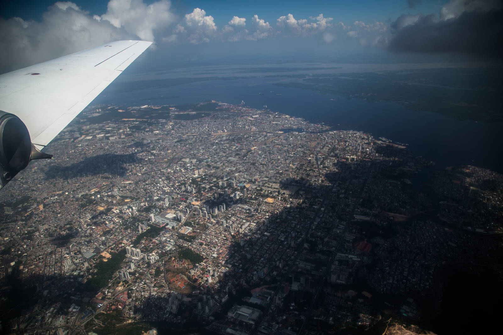 A research aircraft obtains data on pollutants from the sky above Manaus, Brazil