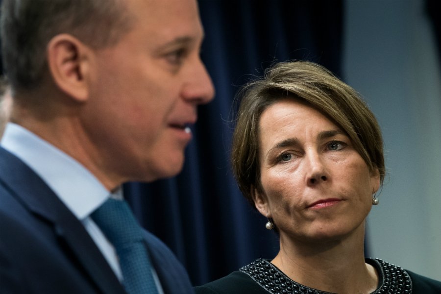 State Attorneys General Maura Healey of Massachusetts and Eric Schneiderman of New York are investigating whether Exxon misled investors about climate change. Exxon wants a court to shut down their investigation. Credit: Drew Angerer