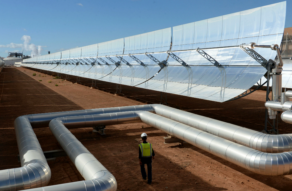 Morocco's first solar power plant, Noor I, has half a million U-shaped mirrors that slowly follow the sun. The sunlight is concentrated on a pipe filled with oil that is used to create steam to run generators. Credit: Fadel Senna/AFP/Getty Images