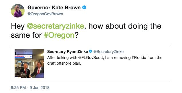 Oregon Gov. Kate Brown's tweet: How about doing the same for Oregon?