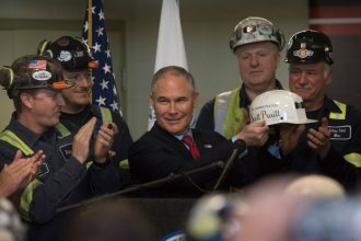 EPA Administrator Scott Pruitt, meeting here with miners in Pennsylvania, has pushed scientists off the EPA's Science Advisory Board and brought in representatives from industries the agency regulates. Credit: Justin Merriman/Getty Images