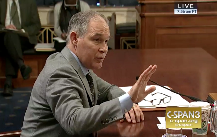 EPA Administrator Scott Pruitt testifies before the Senate Environment and Public Works Committee on Jan. 30, 2018. Credit: CSPAN