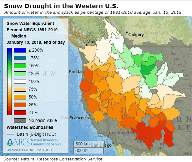 Much of the U.S. West is facing a winter drought. Credit: Natural Resources Conservation Service