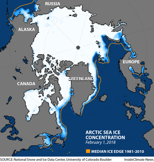 Arctic sea ice extent and concentration on February 1, 2018