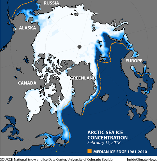 Map of Arctic sea ice concentration, February 2018