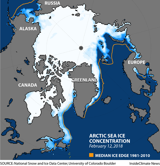 Arctic sea ice extent and concentration on February 12, 2018