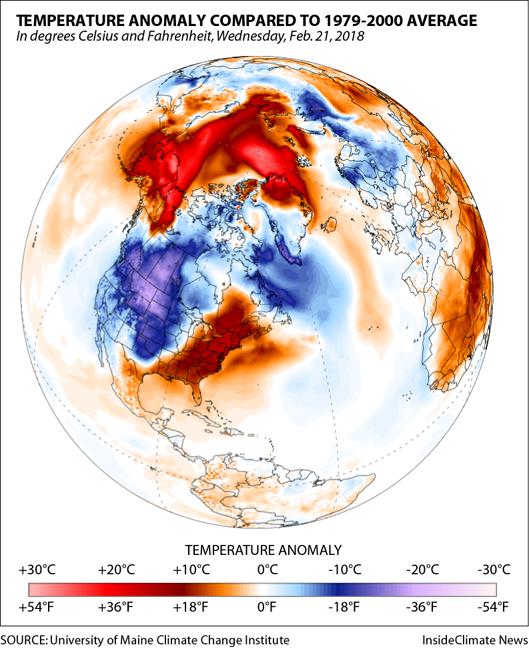 Arctic Heat Wave: Temperature Anomaly on Feb. 21, 2018
