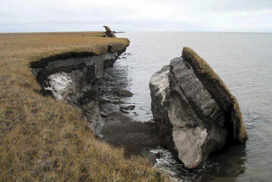 These eroding coastal bluffs in Alaska are thick with permafrost. Credit: U.S. Geological Survey