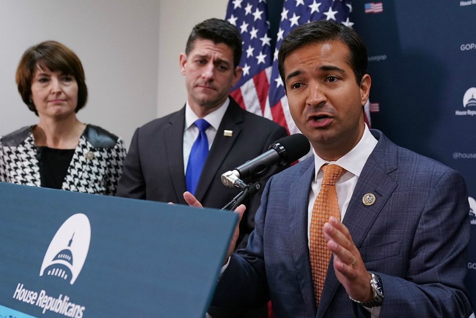 Rep. Carlos Curbelo, R-Florida, with House Speaker Paul Ryan. Credit: Chip Somodevilla/Getty Images