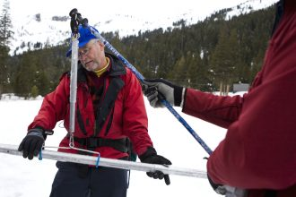 Frank Gehrke, head of California's water survey, measures the snowpack in the Sierra Nevada several times a year. This photo was taken in 2010, ahead of the last major drought. Credit: Max Whittaker/Getty Images