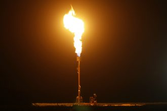 Gas is flared as waste from California's Monterey Shale formation, where gas and oil extraction uses hydraulic fracturing. Credit: David McNew/Getty Images