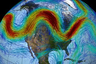 The jet stream wind speeds over North America. Credit: NASA
