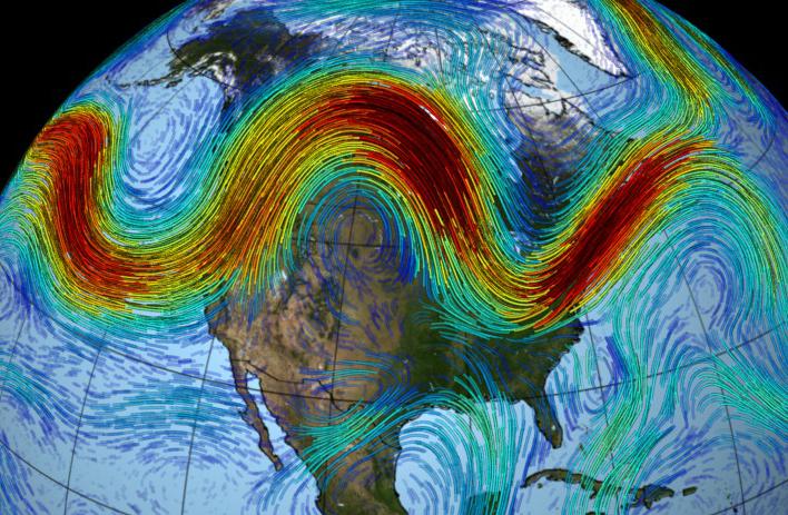 The jet stream wind speeds over North America. Credit: NASA