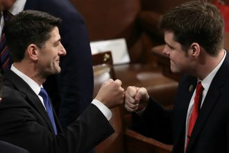 Republican Rep. Matt Gaetz of Florida fist-bumps GOP House Leader Paul Ryan. Credit: Alex Wong/Getty Images
