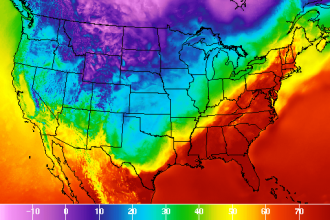 U.S. temperatures on Feb. 21, 2018, at 1 p.m. EST. Credit: National Weather Service
