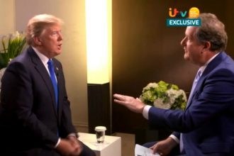"""In a UK television interview, President Trump responded to a question about climate change by saying """"there is cooling and there is heating"""" and talking about """"the ice caps"""" setting records. Credit: ITV"""
